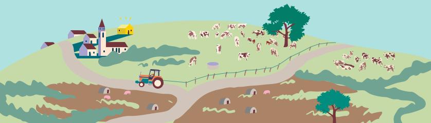 illustratie boeren en buren